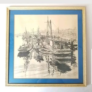 Vintage Ink On Paper Ca 1966 Sims Sim 66 Boats
